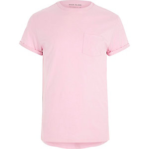 Light pink chest pocket roll sleeve T-shirt