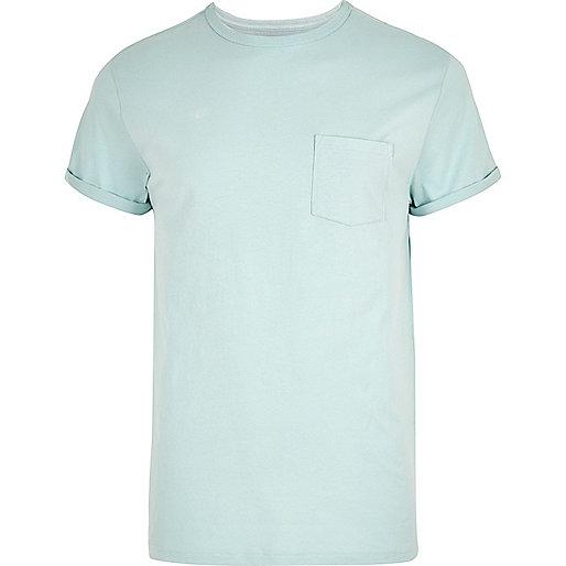 Mint green roll sleeve T-shirt