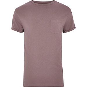T-Shirt mit Rundhalsausschnitt in Rosa