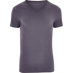 Dark grey scoop V-neck muscle fit T-shirt