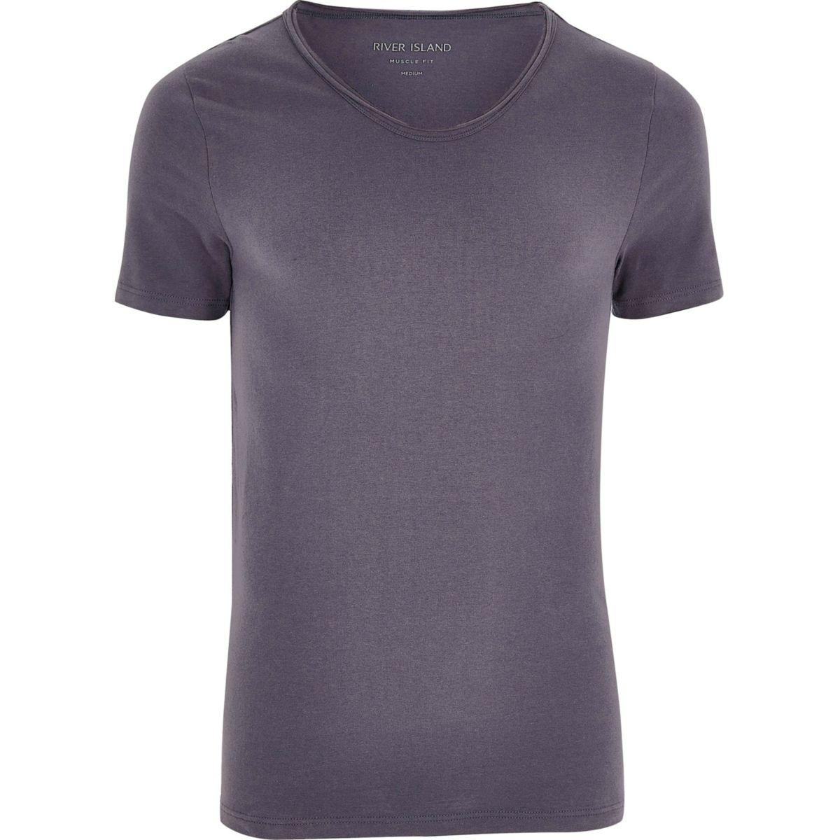 Dark grey scoop V-neck muscle fit T-shirt