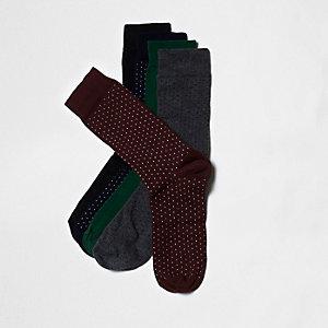 Rote, gepunktete Socken im Set