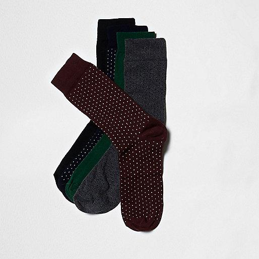 Red polka dot socks multipack