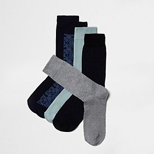 Lot de chaussettes bleu marine et bleues