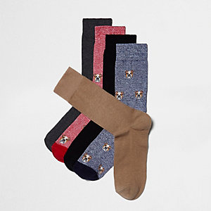 Set van vijf paar bruine sokken met bulldogprint