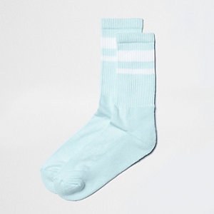 Mint green stripe tube socks