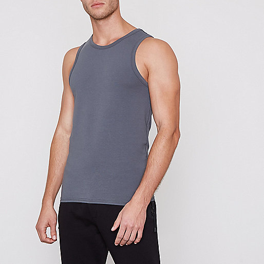 Grey muscle fit tank
