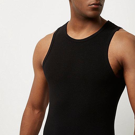 Black muscle fit tank
