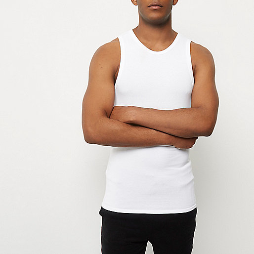 White muscle fit tank