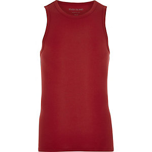 Red muscle fit tank