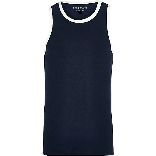 Navy muscle fit ringer vest
