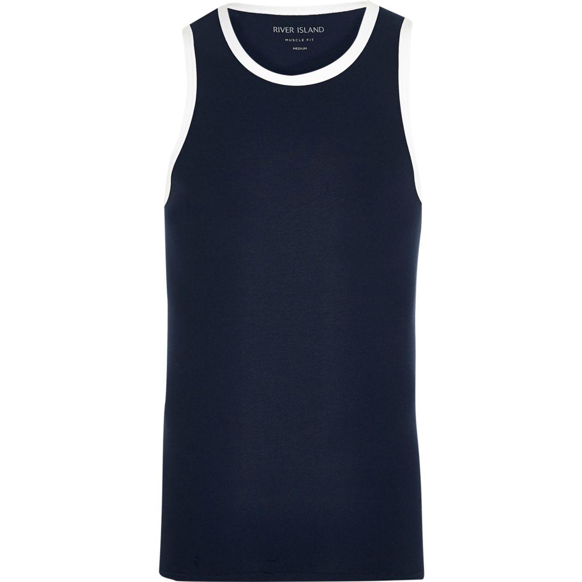 Navy muscle fit ringer vest