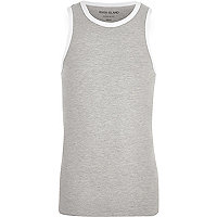 Grey muscle fit ringer tank