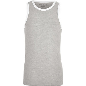 Grey marl tipped muscle fit tank