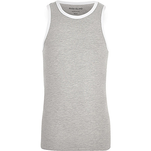 Grey muscle fit ringer vest