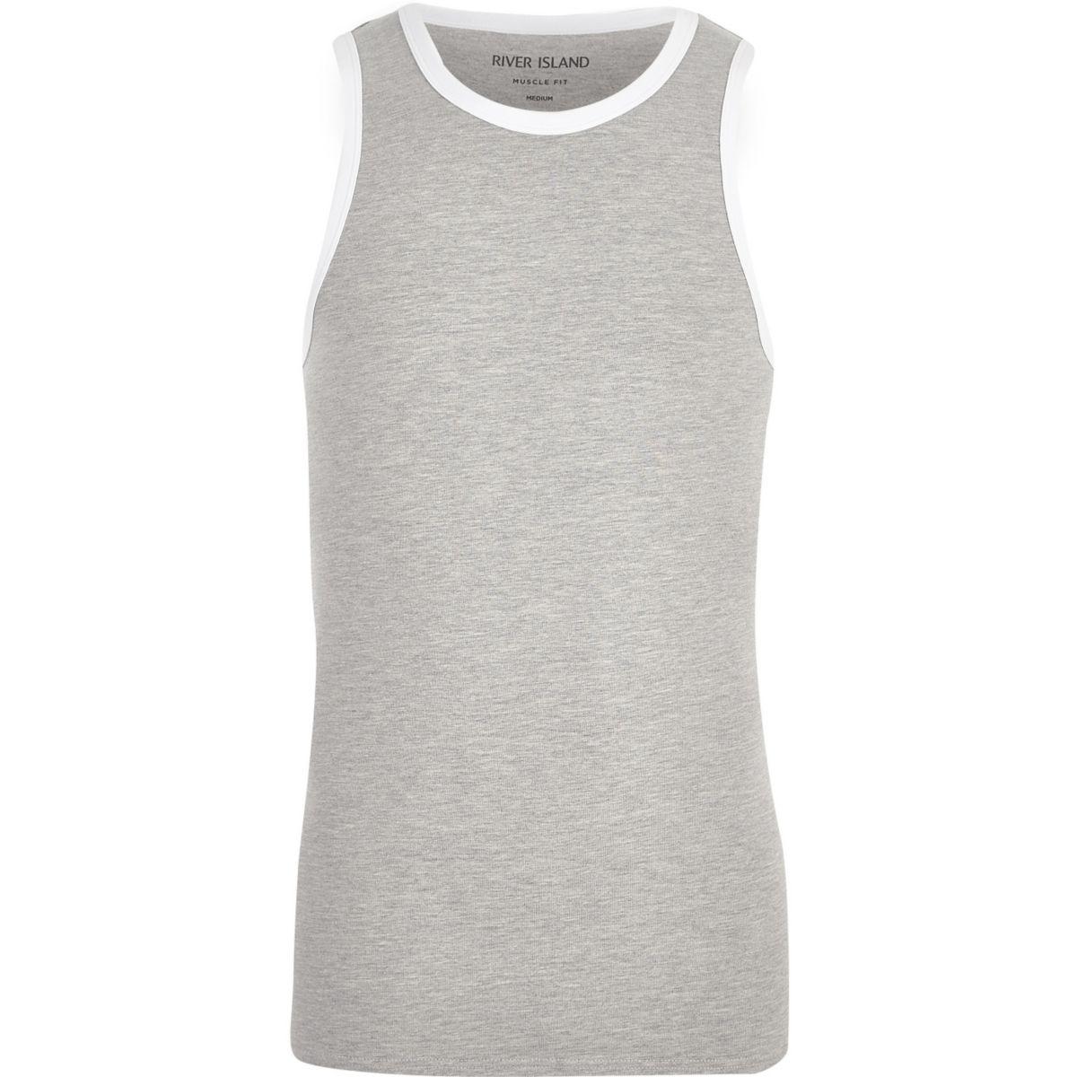 Grey muscle fit ringer vest