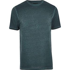 Blaues Slim Fit T-Shirt mit Burnout-Muster