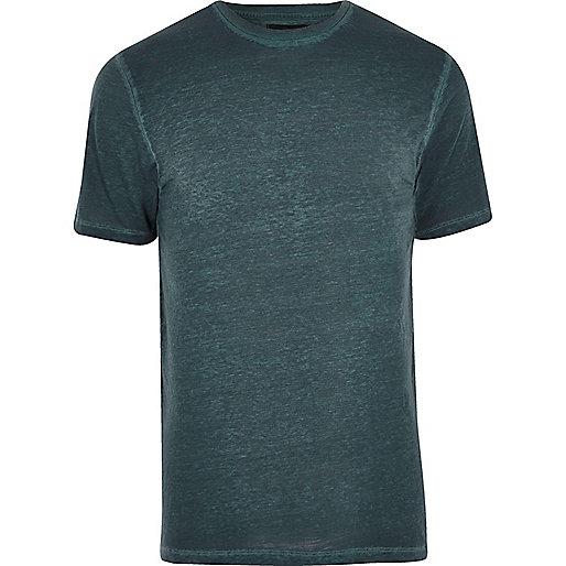 Blue burnout slim fit T-shirt