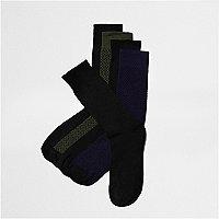 Black mixed pattern socks multipack