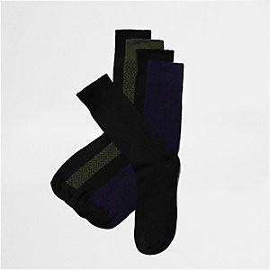 Black mixed pattern socks multipack