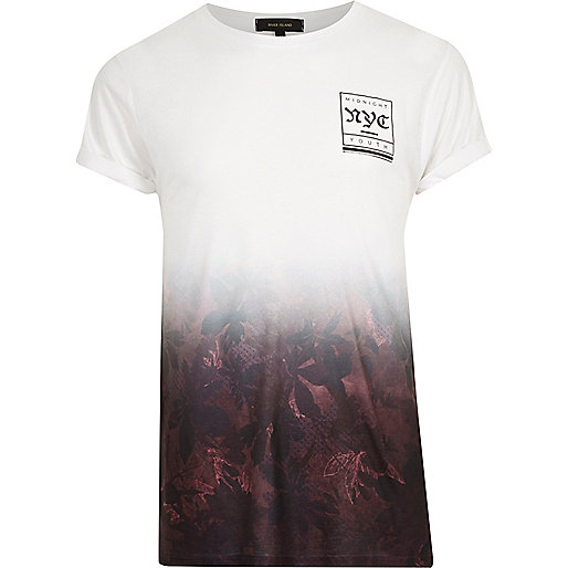 White red leaf fade print T-shirt