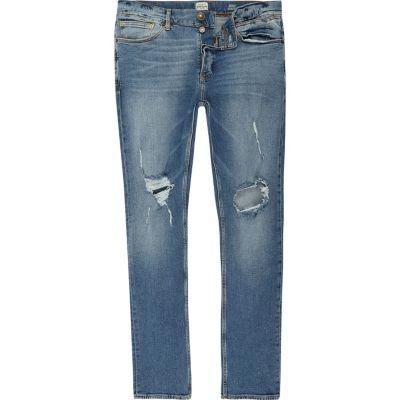 Sid Ripped skinny jeans met blauwe wassing