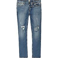 Sid – Jean skinny bleu délavé avec déchirures