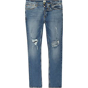 Blue wash ripped Sid skinny jeans