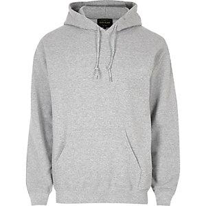 Gemêleerd grijze casual hoodie