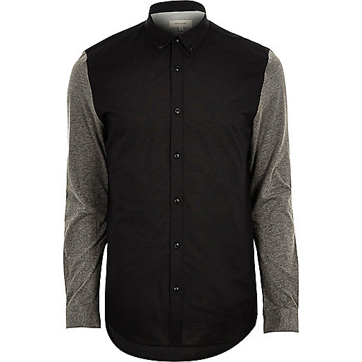 Black Oxford contrast sleeve shirt