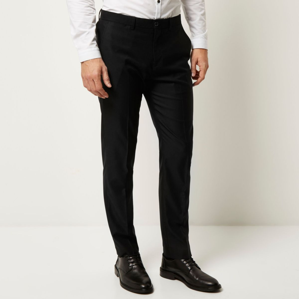 Black slim fit smart trousers