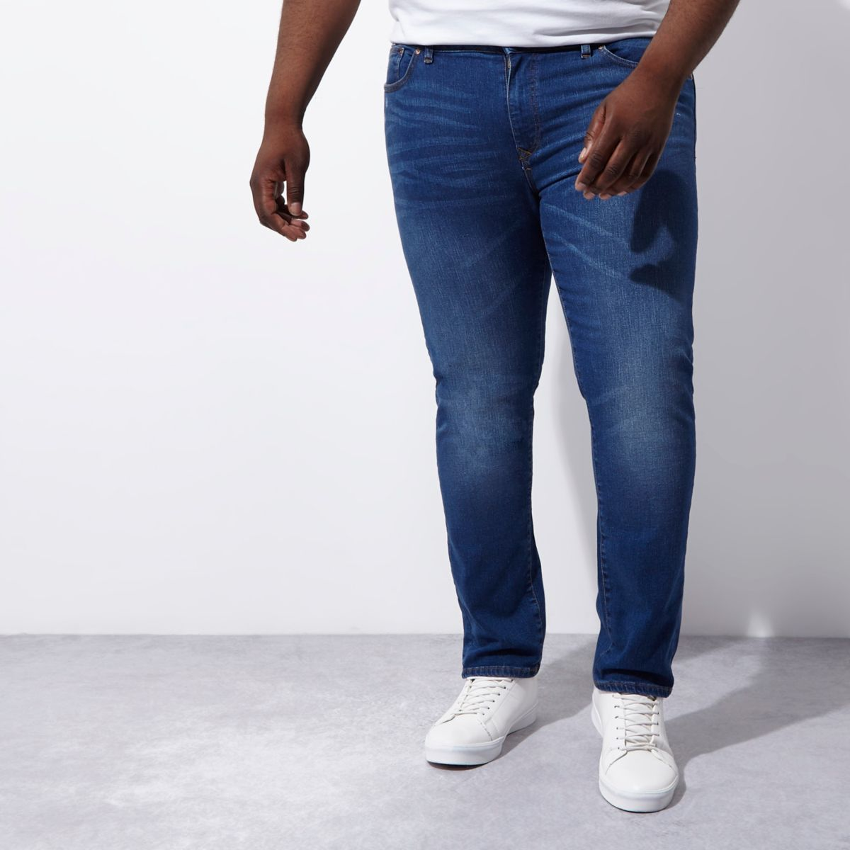 RI Big & Tall - Dylan - Middenblauwe vervaagde slim-fit jeans