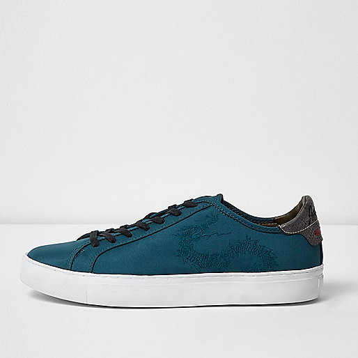 Blue embroidered dragon 'Japan' trainers