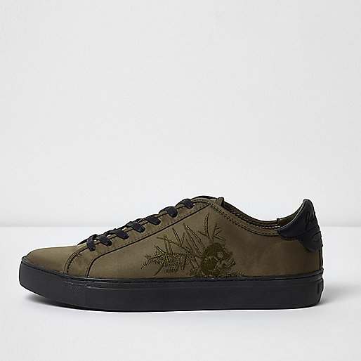 Dark green embroidered skull satin trainers
