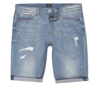 Blue wash distressed skinny-fit denim short