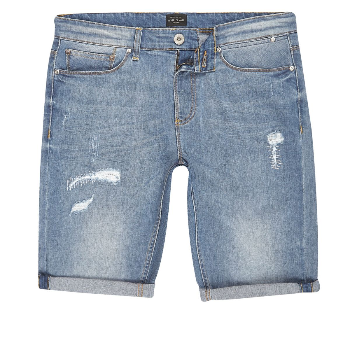 Blue wash distressed skinny fit denim shorts