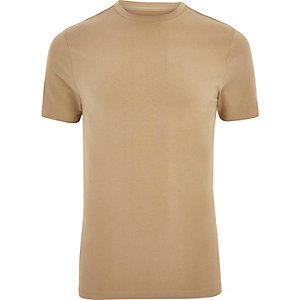 Hellbraunes, figurbetones T-Shirt