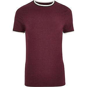 Red tipped crew neck muscle fit T-shirt