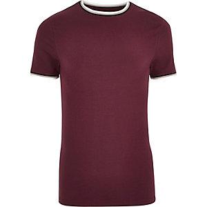 T-shirt ajusté ras-du-cou rouge à liserés
