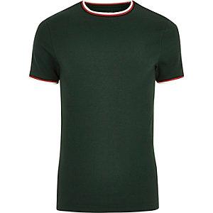 T-shirt ajusté vert foncé à liserés