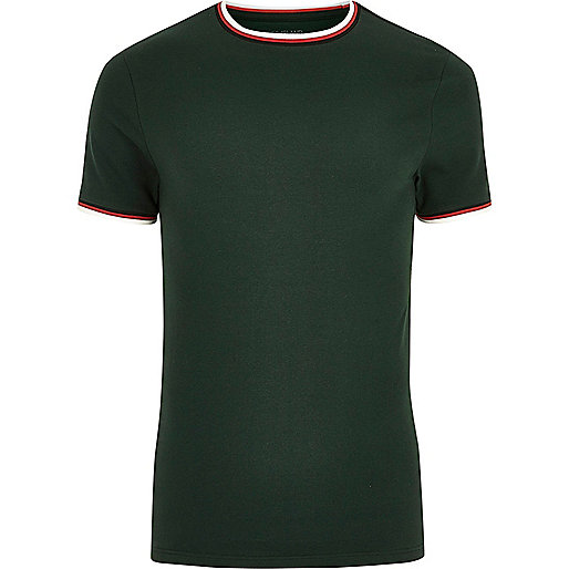 Dark green tipped muscle fit T-shirt