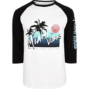White 'Miami vibes' raglan sleeve top