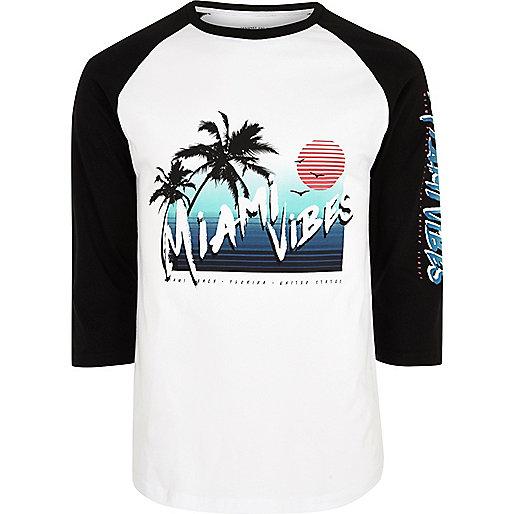 White 'Miami vibes' raglan sleeve top