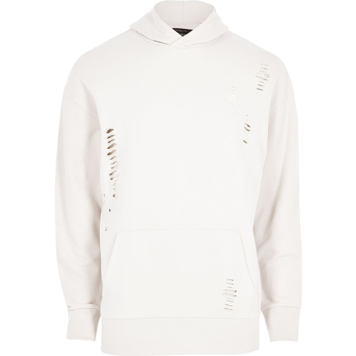 White ripped cotton hoodie