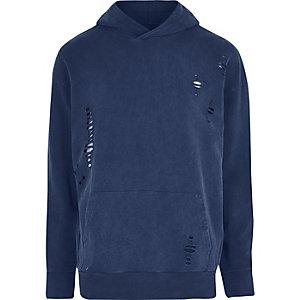 Blauer Hoodie im Used-Look