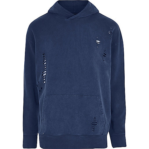 Blue washed ripped hoodie