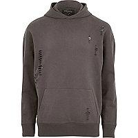 Dark grey distressed hoodie