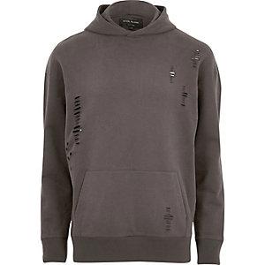 Donkgrijze distressed hoodie