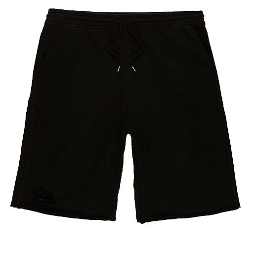 Black slub ripped shorts