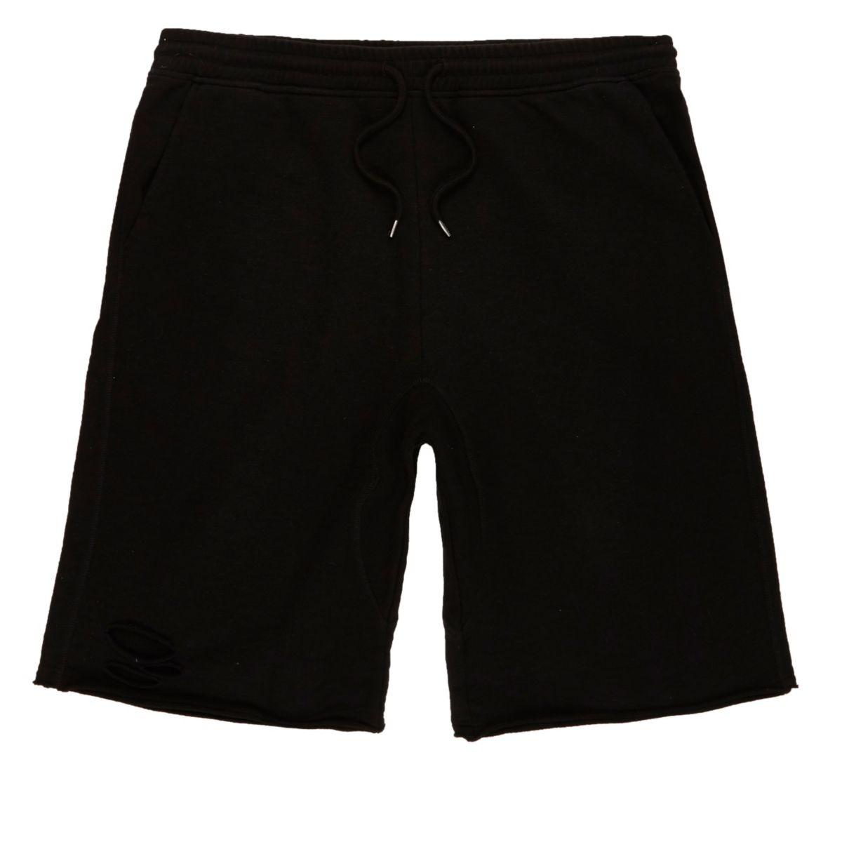 Black slub ripped shorts